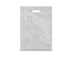 Igelitová PE taška stříbrná - 350x500mm, pevný průhmat a složené dno