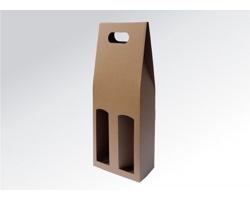 Papírová krabice na 2 lahve vína ALTO - 17 x 40 x 8 cm - hnědá