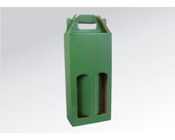 Papírová krabice na 2 lahve vína WINEBOX GREEN - 16,5 x 34,5 x 8 cm