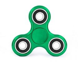 Reklamní plastový Fidget Spinner CLASSIC METALLIZED s potiskem - barva GREEN