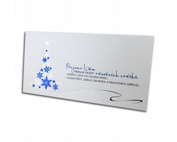 Novoroční PF karta GL741 - bílá / modrá / stříbrná