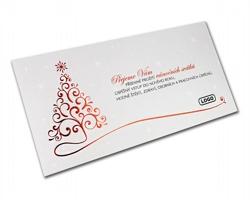 Novoroční PF karta GL824 - bílá / červená