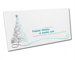 Novoroční PF karta GL827 - bílá / stříbrná / modrá