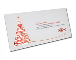 Novoroční PF karta GL831 - bílá / stříbrná / červená