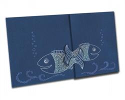 Otevírací novoročenka PF824 - modrá / stříbrná