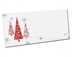 Novoroční PF karta PF827 - bílá / červená / stříbrná