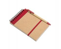 Ekologický poznámkový blok ROSLYN s perem, formát A6 - červená
