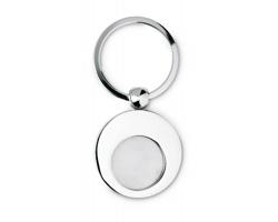 Klíčenka GLUEY s kovovým žetonem - ocelově stříbrná/šedá