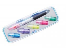 Plastové kuličkové pero JIVES s vyměnitelnými zvýrazňovači - vícebarevná