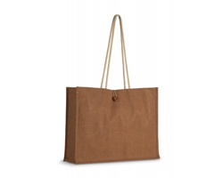 Jutová nákupní taška LESSIE s lanovými popruhy - hnědá