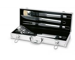 Set na barbecue MARVIN v hliníkovém kufříku - stříbrná