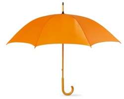 Deštník SONORA s dřevěnou rukojetí - oranžová