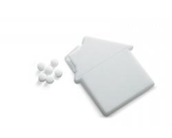 Plastový dávkovač mentolek KIP ve tvaru domu - bílá