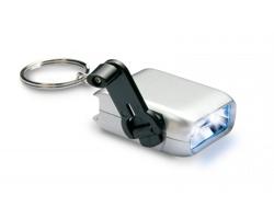 Plastová dynamo LED svítilna ARSON s kroužkem na klíče - stříbrná