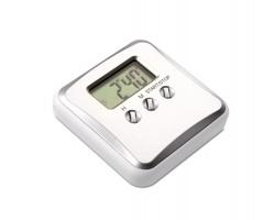 Plastový kuchyňský časovač THERSA s magnetem - matně stříbrná