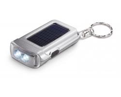 Solární LED svítilna AUSTIN s přívěškem na klíče - matně stříbrná