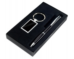 Sada kuličkové pero a klíčenka PONG - černá