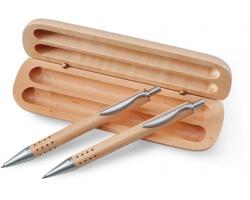 Dárková psací sada SCOT v dřevěné krabičce - hnědá (dřevo)