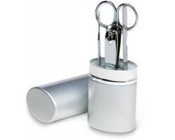 Set na manikúru LAUREN v pouzdru, 4ks - matně stříbrná