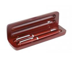 Dřevěná psací souprava NADENE s kuličkovým a plnicím perem v pouzdru - stříbrná