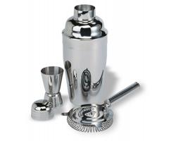 Nerezová sada na tvorbu koktejlů GENARO se 3 doplňky - ocelově stříbrná/šedá