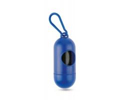 Plastový zásobník sáčků na psí exkrementy JOSUE s karabinou, 10ks - modrá