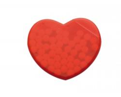 Plastový dávkovač mentolek KARIN ve tvaru srdce - červená