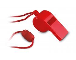Plastová píšťalka JAPED se šňůrkou - červená