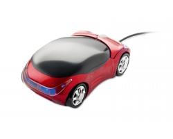 Plastová optická myš HECK ve tvaru auta - červená