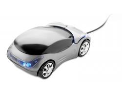 Plastová optická myš HECK ve tvaru auta - titanová