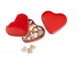 Sladké bonbóny ADELLE v krabičce ve tvaru srdce, 24g - červená
