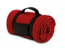 Fleecová deka CASEVILLE s rukojetí - červená