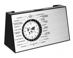 Otáčecí stolní hodiny MARGURITE se světovými časy - matně stříbrná