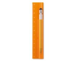 Pravítko s dotykovým perem BRUNT, 12 cm - transparentní oranžová