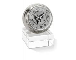 Analogové hodiny PITTA se stojánkem - ocelově stříbrná/šedá
