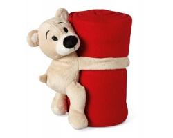Fleecová deka KIDDO s medvídkem - červená