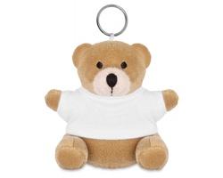 Plyšový medvěd JASON s kroužkem na klíče - bílá