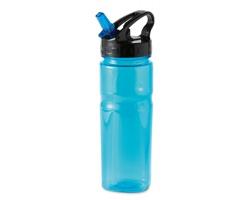 Sportovní láhev BRAVO s brčkem, 600ml - transparentní modrá