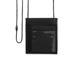 Nylonová peněženka PAEAN k zavěšení na krk s transparentní přihrádkou - černá
