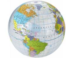 Průhledný nafukovacé plážový míč GLOBUS - transparentní