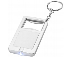 Klíčenka otvírák lahví a LED svítilna EPIDOTE - bílá / stříbrná