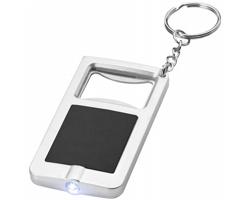 Klíčenka otvírák lahví a LED svítilna EPIDOTE - černá / stříbrná