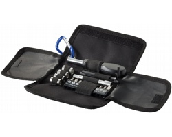 Malá skládací sada nástrojů RAPED s karabinkou, 19 ks - černá / modrá