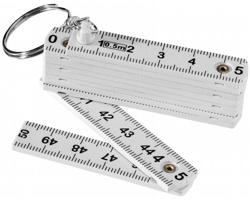 Přívěsek na klíče skládací metr OLDSCHOOL s oboustraným potiskem, délka 0,5 m - bílá