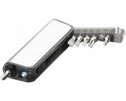 Sada miniaturního nářadí s LED blikačkou RHEAS, 7 funkcí - stříbrná