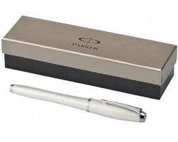 Lakované plnicí pero Parker URBAN PREMIUM FOUNTAIN PEN v exkluzivním designu grafických prvků v dárkové kazetě - metalická