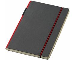 Zápisník v pevné vazbě Journalbooks CUPPIA s barevným hřbetem a poutkem na pero, formát A5 - černá / červená
