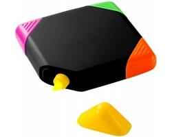 Plastový čtvercový zvýrazňovač FIXED s plochými hroty žlutého, oranžového, růžového a zeleného zvýrazňovače - černá