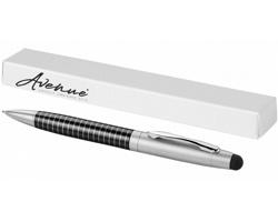 Proužkované kuličkové pero USING se stylusem - černá / stříbrná