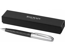 Kuličkové pero s koženým vzorem Balmain LYRE BALLPOINT PEN - černá / stříbrná